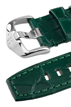 Load image into Gallery viewer, Hirsch TRITONE Padded Alligator Leather Watch Strap in DARK GREEN