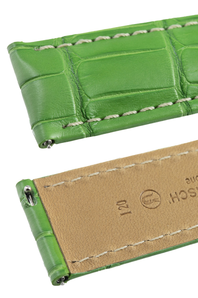 Hirsch TRITONE Padded Alligator Leather Watch Strap in GREEN with WHITE Stitching