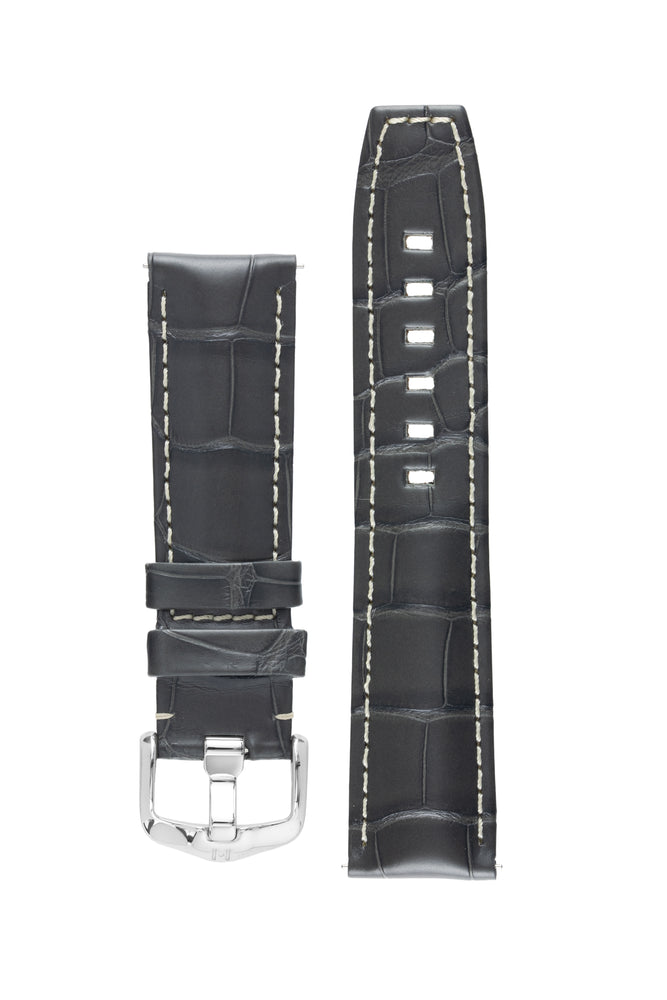 Hirsch TRITONE Padded Alligator Leather Watch Strap in GREY with WHITE Stitching