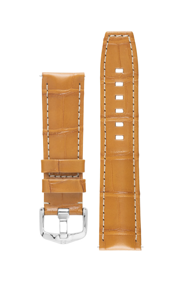 Hirsch TRITONE Padded Alligator Leather Watch Strap in HONEY with WHITE Stitching