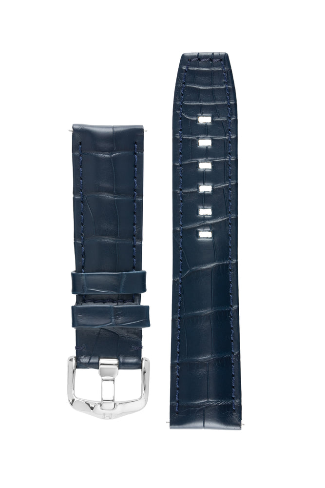 Hirsch TRITONE Padded Alligator Leather Watch Strap in BLUE