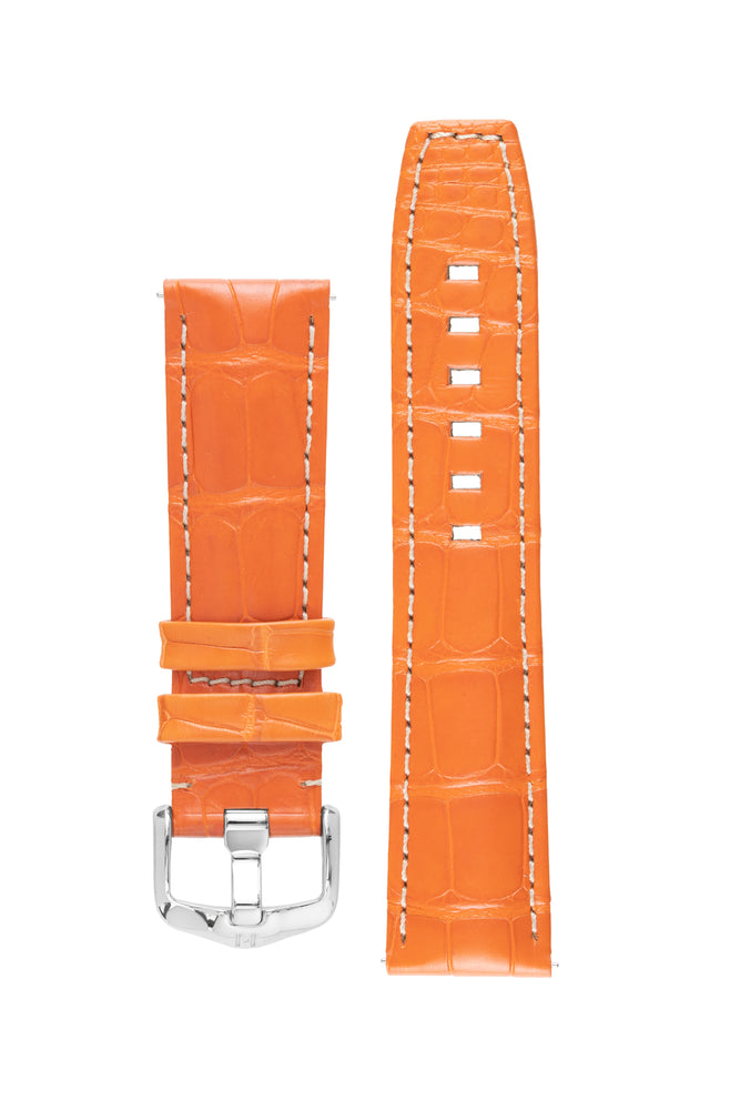 Hirsch TRITONE Padded Alligator Leather Watch Strap in ORANGE with WHITE Contrast Stitching