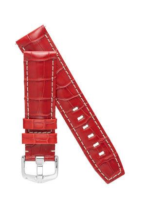 Hirsch TRITONE Padded Alligator Leather Watch Strap in RED with WHITE Stitching