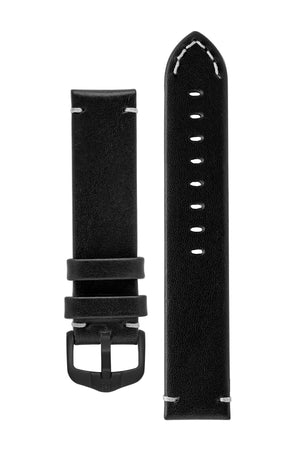 Hirsch Ranger Retro Leather Parallel Watch Strap in Black (with Black PVD-Coated Steel H-Active Buckle)
