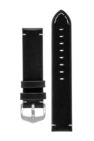 Hirsch Ranger Retro Leather Parallel Watch Strap in Black (with Brushed Silver Steel H-Active Buckle)