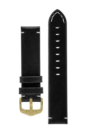 Hirsch Ranger Retro Leather Parallel Watch Strap in Black (with Polished Gold Steel H-Active Buckle)