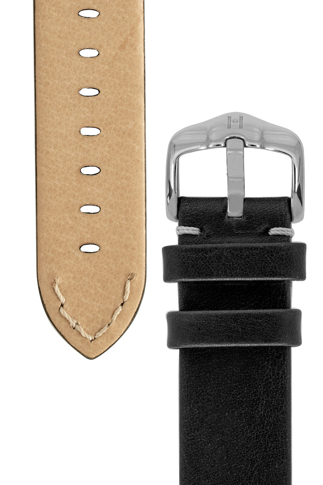 Load image into Gallery viewer, Hirsch Ranger Retro Leather Parallel Watch Strap in Black (Underside & Tapers)