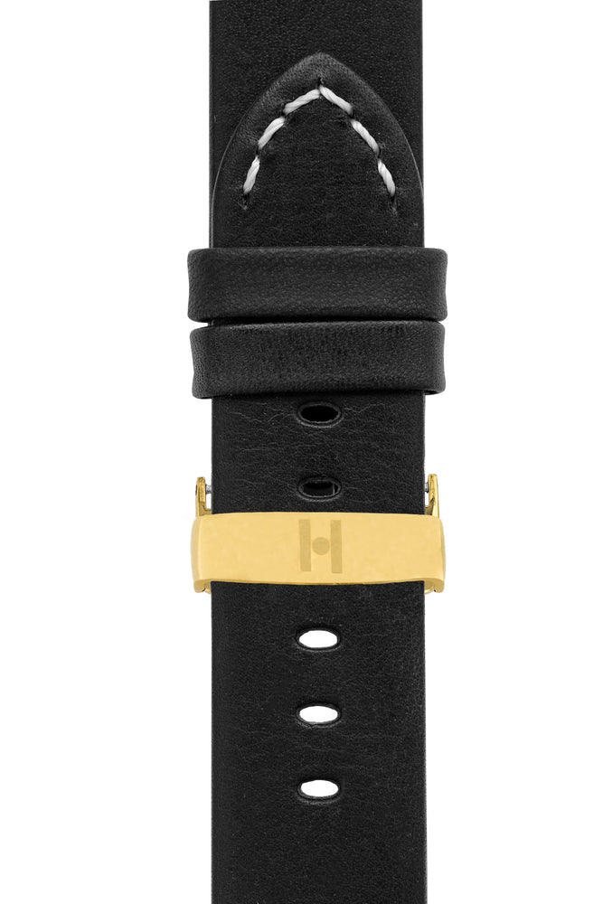 Hirsch Ranger Retro Leather Parallel Watch Strap in Black (with Polished Gold Steel Sport Deployment Clasp)