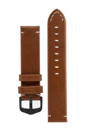 Hirsch Ranger Retro Leather Parallel Watch Strap in Gold Brown (with Black PVD-Coated Steel H-Active Buckle)