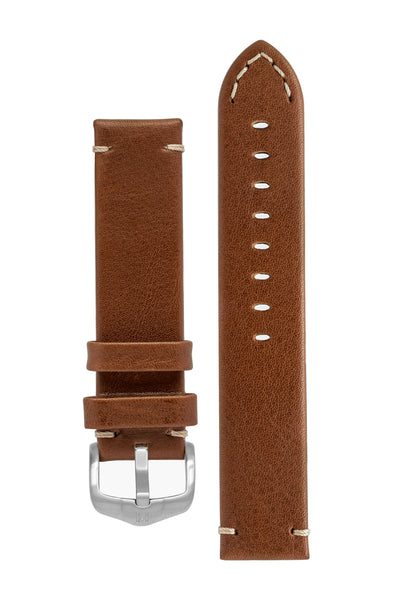Hirsch Ranger Retro Leather Parallel Watch Strap in Gold Brown (with Brushed Silver Steel H-Active Buckle)