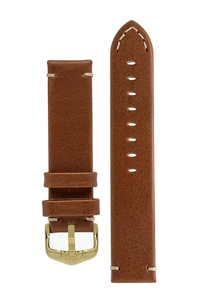 Hirsch Ranger Retro Leather Parallel Watch Strap in Gold Brown (with Polished Gold Steel H-Active Buckle)