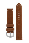 Hirsch Ranger Retro Leather Parallel Watch Strap in Gold Brown (with Polished Silver Steel H-Active Buckle)