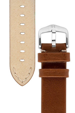 Hirsch Ranger Retro Leather Parallel Watch Strap in Gold Brown (Underside & Tapers)