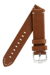 Hirsch RANGER Retro Leather Parallel Watch Strap in GOLD BROWN