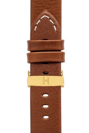 Hirsch Ranger Retro Leather Parallel Watch Strap in Gold Brown (with Polished Gold Steel Sport Deployment Clasp)