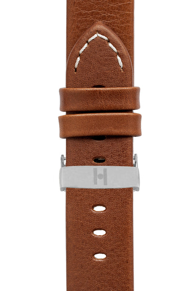 Hirsch Ranger Retro Leather Parallel Watch Strap in Gold Brown (with Polished Silver Steel Sport Deployment Clasp)