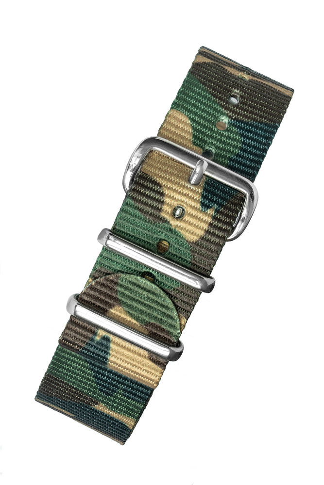 Load image into Gallery viewer, Hirsch Rush Nylon NATO Watch Strap in Green DPM Camouflage