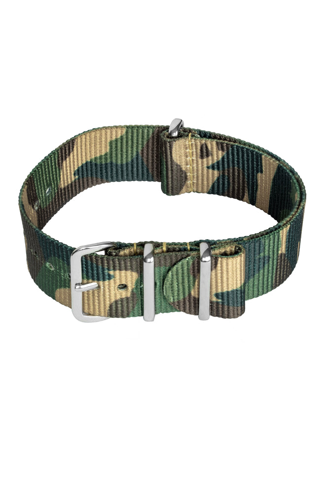 Load image into Gallery viewer, Hirsch Rush Nylon NATO Watch Strap in Green DPM Camouflage (Fastened)