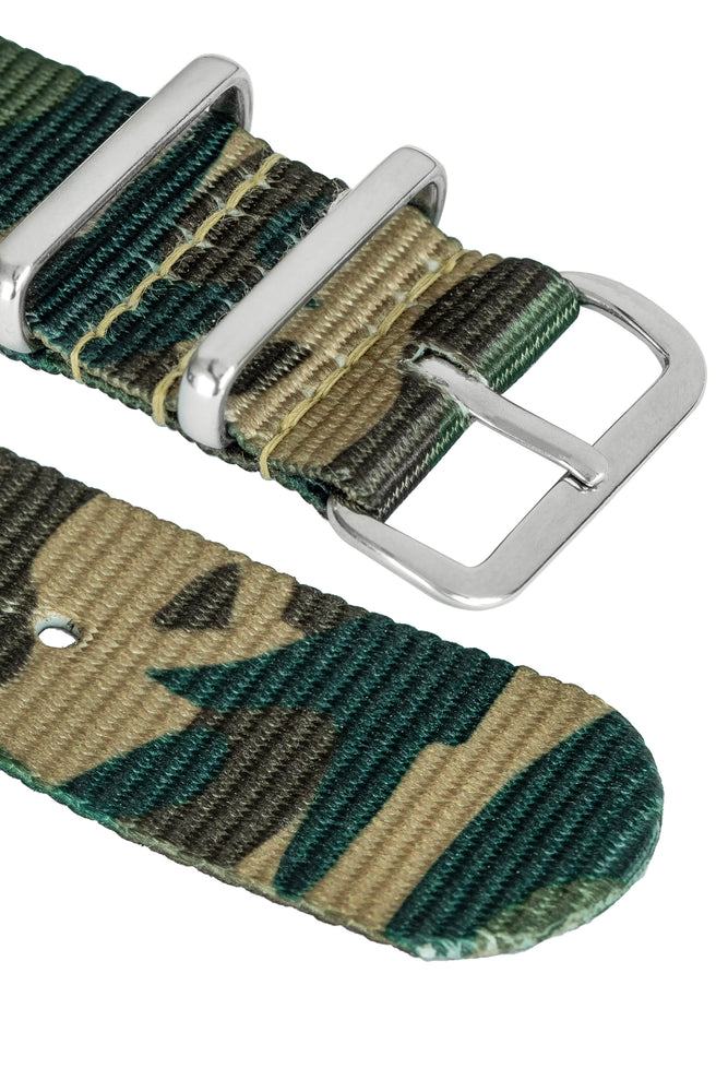 Hirsch Rush Nylon NATO Watch Strap in Green DPM Camouflage (Hardware & Rounded Taper)