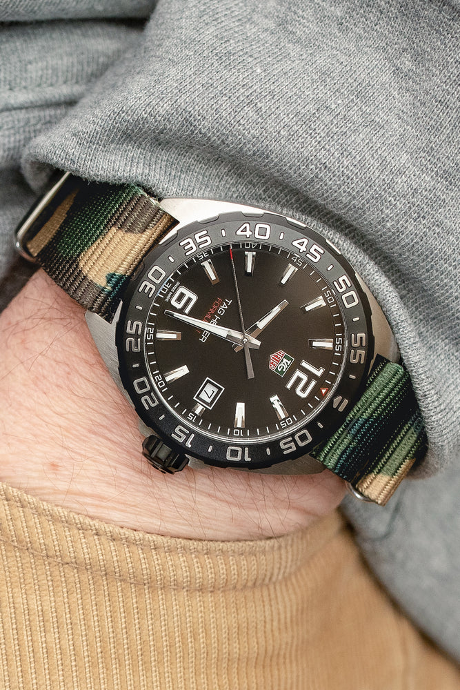 Load image into Gallery viewer, Hirsch Rush Nylon NATO Watch Strap in Green DPM Camouflage (Promo Photo & Wrist Shot)