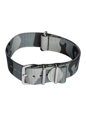 Load image into Gallery viewer, Hirsch Rush Nylon NATO Watch Strap in Grey Urban Camouflage (Fastened)