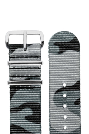 Hirsch Rush Nylon NATO Watch Strap in Grey Urban Camouflage (Hardware & Rounded Taper)