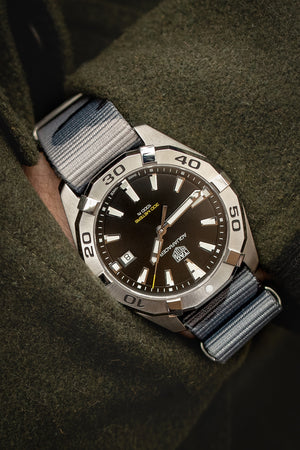 Hirsch Rush Nylon NATO Watch Strap in Grey Urban Camouflage (Promo Photo & Wrist Shot on Tag Heuer Aquaracer)
