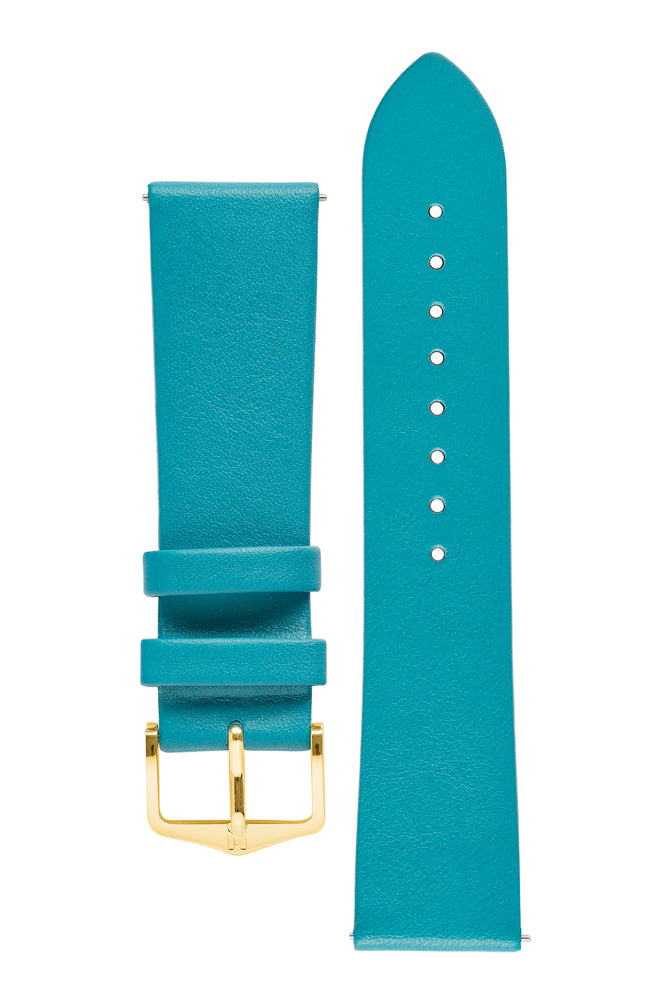 Load image into Gallery viewer, Hirsch VIAZZA Ladies Leather Quick-Release Watch Strap in PETROL