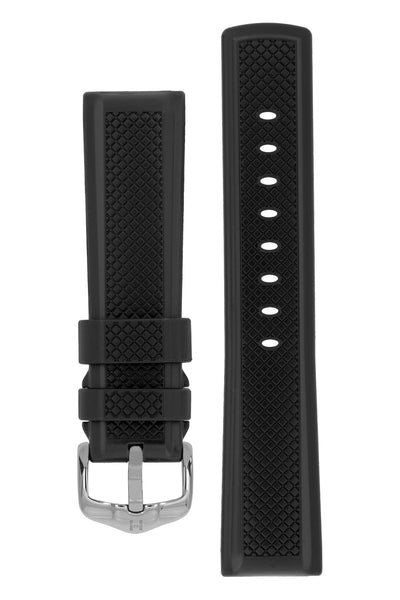 Hirsch ACCENT Natural Rubber Watch Strap in BLACK