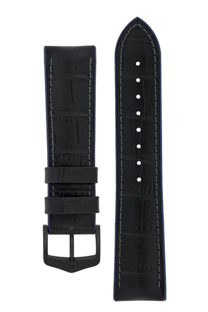 Hirsch Andy Alligator Embossed Performance Watch Strap in Black with Blue Underside (with Black PVD-Coated Steel H-Classic Buckle)