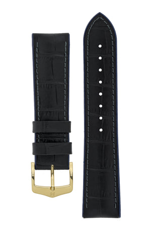Hirsch Andy Alligator Embossed Performance Watch Strap in Black with Blue Underside (with Polished Gold Steel H-Classic Buckle)