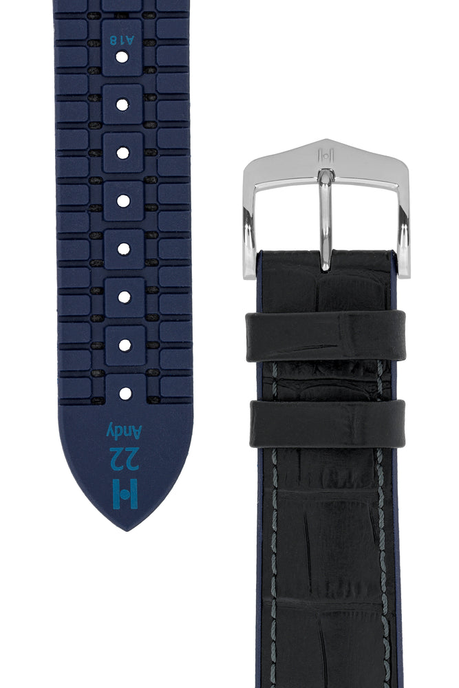 Hirsch Andy Alligator Embossed Performance Watch Strap in Black with Blue Underside (Taper & Buckle)