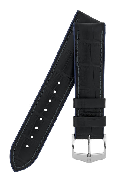 Hirsch Andy Alligator Embossed Performance Watch Strap in Black with Blue Underside