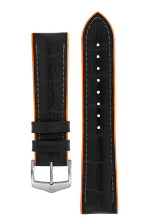 Hirsch Andy Alligator Embossed Performance Watch Strap in Black with Orange Underside (with Brushed Silver Steel H-Classic Buckle)