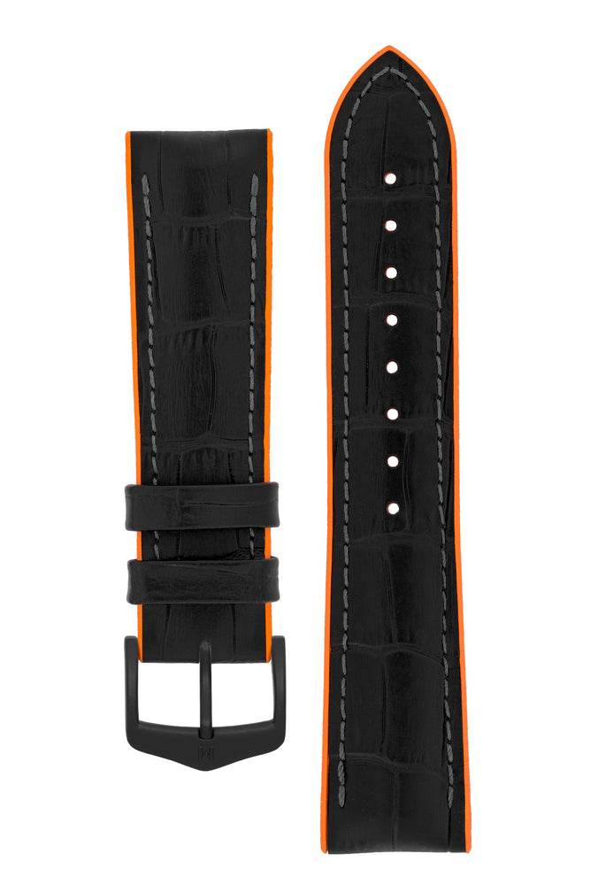 Hirsch Andy Alligator Embossed Performance Watch Strap in Black with Orange Underside (with Black PVD-Coated Steel H-Classic Buckle)
