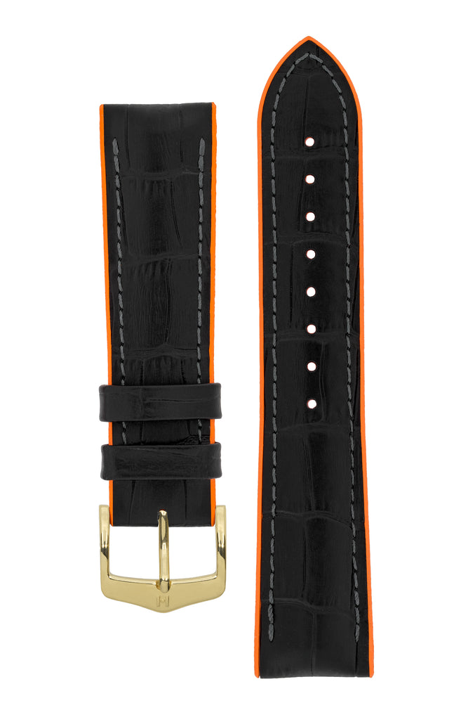 Hirsch Andy Alligator Embossed Performance Watch Strap in Black with Orange Underside (with Polished Gold Steel H-Classic Buckle)
