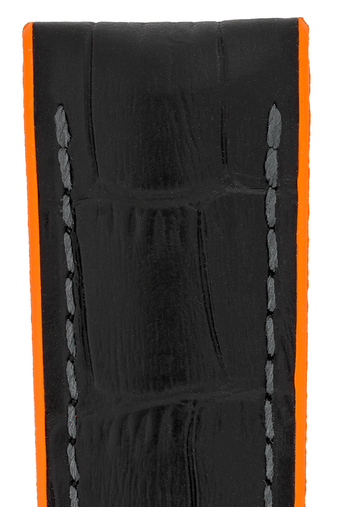 Load image into Gallery viewer, Hirsch Andy Alligator Embossed Performance Watch Strap in Black with Orange Underside (Texture Detail)