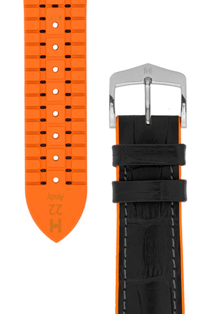 Hirsch Andy Alligator Embossed Performance Watch Strap in Black with Orange Underside  (Taper & Buckle)
