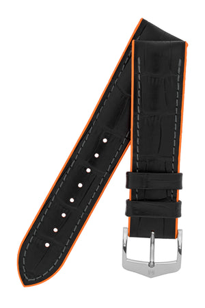 Load image into Gallery viewer, Hirsch Andy Alligator Embossed Performance Watch Strap in Black with Orange Underside