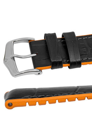 Hirsch Andy Alligator Embossed Performance Watch Strap in Black with Orange Underside (Padding)