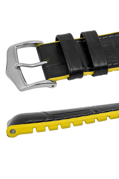 Hirsch ANDY Alligator Embossed Performance Watch Strap in BLACK / YELLOW