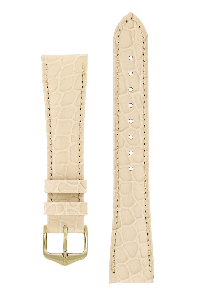 Hirsch Aristocrat Crocodile-Embossed Leather Watch Strap in Beige (with Polished Gold Steel H-Standard Buckle)