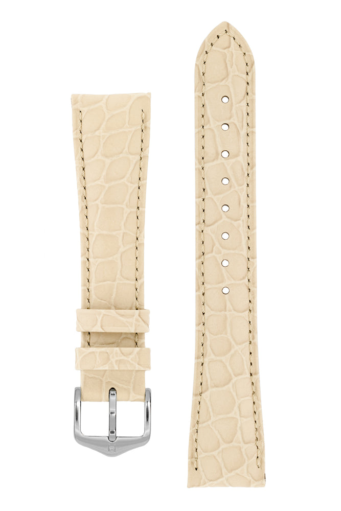 Hirsch Aristocrat Crocodile-Embossed Leather Watch Strap in Beige (with Polished Silver Steel H-Standard Buckle)