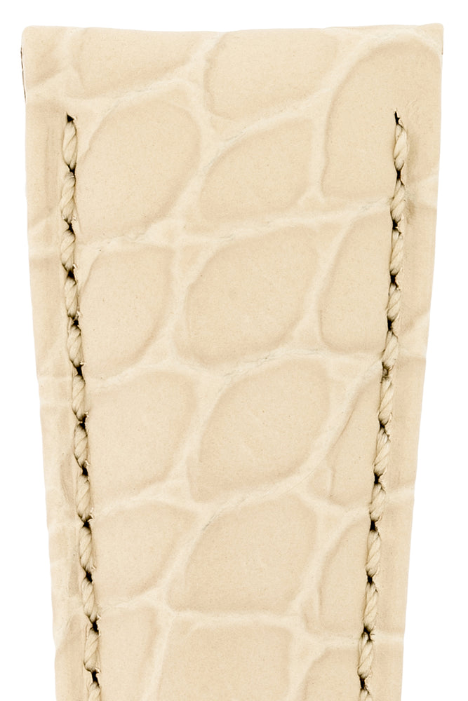 Load image into Gallery viewer, Hirsch Aristocrat Crocodile-Embossed Leather Watch Strap in Beige (Texture Detail)