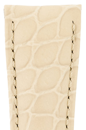 Hirsch Aristocrat Crocodile-Embossed Leather Watch Strap in Beige (Texture Detail)