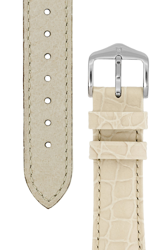 Hirsch Aristocrat Crocodile-Embossed Leather Watch Strap in Beige (Taper & Buckle)