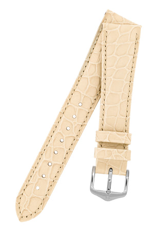 Hirsch Aristocrat Crocodile-Embossed Leather Watch Strap in Beige