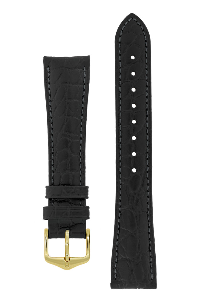Hirsch Aristocrat Crocodile-Embossed Leather Watch Strap in Black (with Polished Gold Steel Buckle)