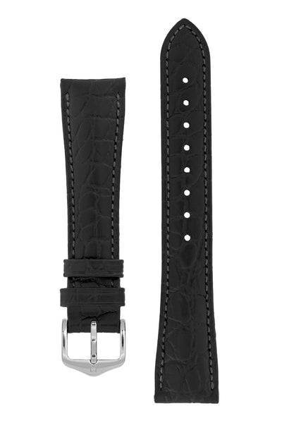 Hirsch Aristocrat Crocodile-Embossed Leather Watch Strap in Black (with Polished Silver Steel Buckle)