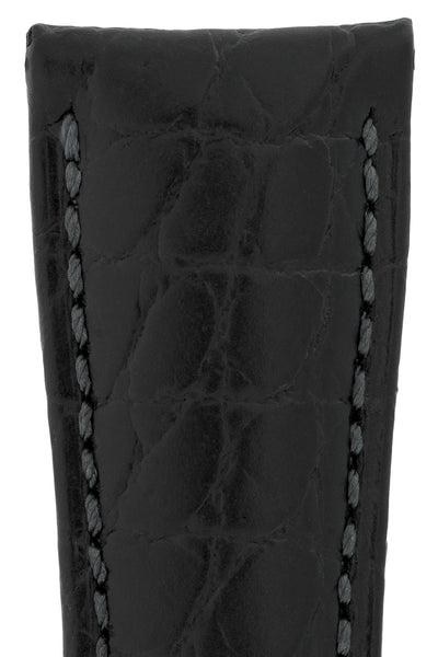 Hirsch Aristocrat Crocodile-Embossed Leather Watch Strap in Black (Texture Detail)